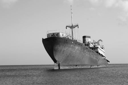 rusting: Black And White picture of an Old Wreck in the Port of Arrecife, Atlantic Sea  Lanzarote Island Spain