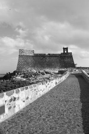 impervious: Black   White View of Castillo de San Gabriel in Arrecife  Lanzarote Canary Islands Spain