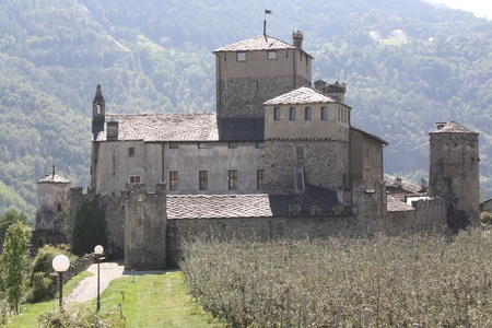 impervious: View of Sarriod de la Tour Castle  Aosta valley, Italy