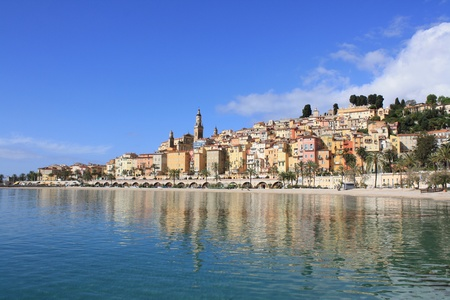 View of Menton on the french Riviera in the South of France