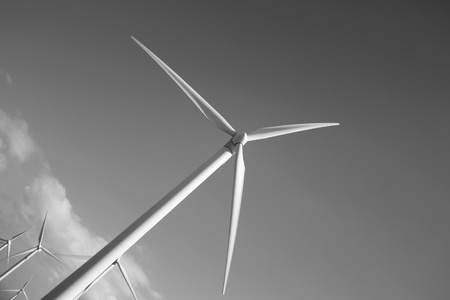 Wind turbine with black and white background  Lanzarote Canary Islands  photo