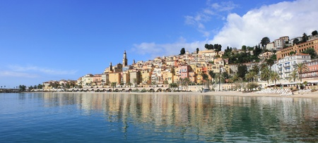 Panoramic View of Menton on the french Riviera in the South of France photo