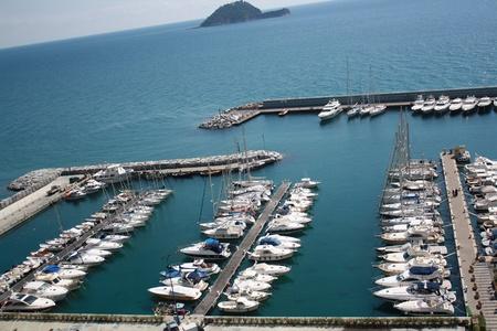 telamon: Boats In The Small Port Of Alassio,   Liguria Italy   Stock Photo