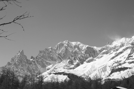 Black and white photo of Monte Bianco mountains in Winter   Courmayer Aosta Valley