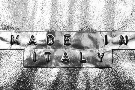 Made In Italy logo on a silver background Stock Photo - 16688779