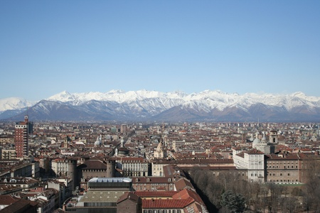 Aerial view of Turin city in summer   Italy   photo