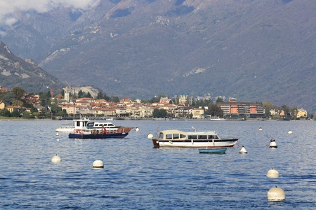 Some boats on Lago Maggiore in northern Italy photo