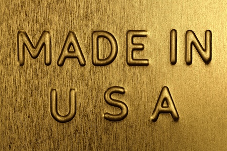Made in USA Engraved on a Golden Background photo