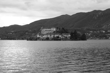 View of Isola San Giulio on Lago D Orta in northern Italy