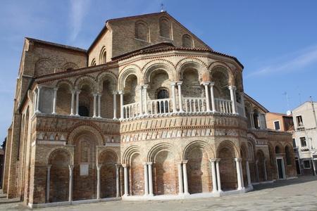 italian fresco: View of Santa Maria And Donato Basilica in Murano Island,  UNESCO World Heritage  Veneto Venice Italy