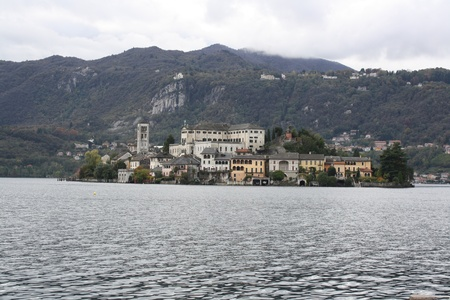View of Isola San Giulio on Lago D Orta in northern Italy photo