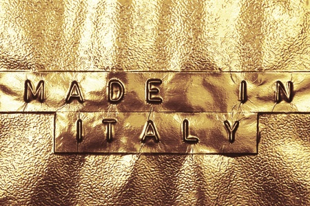 Made In Italy logo on a golden background Stock Photo