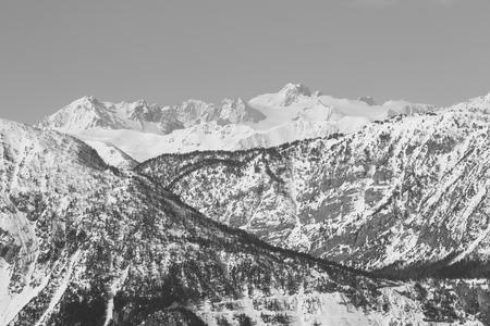 bardonecchia: Black and white picture of Susa Valley mountains  Bardonecchia Italy