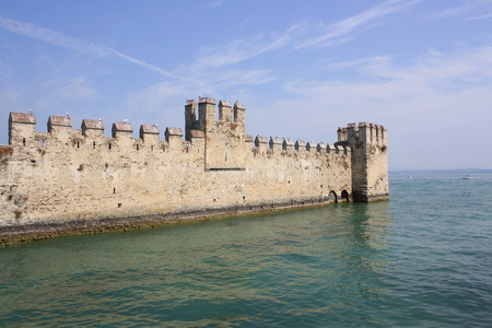 impervious: View of Rocca Scaligera Castle,  Lake of Garda, Italy   Editorial