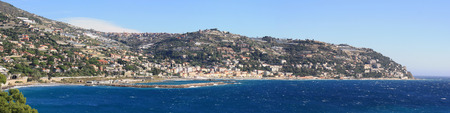 sanremo: Panoramic view of Ospedaletti on the Ligurian Riviera in the North of Italy   Sanremo