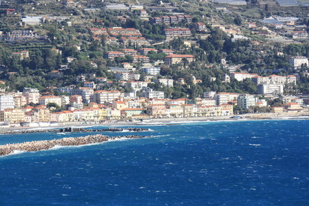 sanremo: View of Ospedaletti on the Ligurian Riviera in the North of Italy  Sanremo