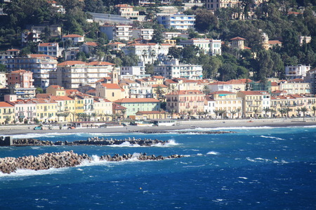 sanremo: View of Ospedaletti on the Ligurian Riviera in the North of Italy (Sanremo)