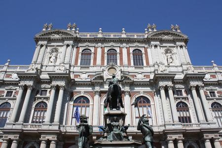 risorgimento: View of Carignano Palace in Turin, Italy
