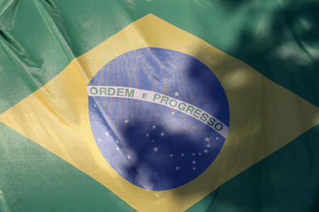 Closeup image of the brazil flag