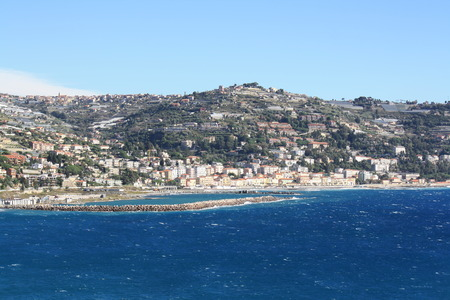 View of Ospedaletti on the Ligurian Riviera in the North of Italy (Sanremo)