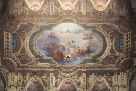 View of Interior of Carignano Palace in Turin, Italy