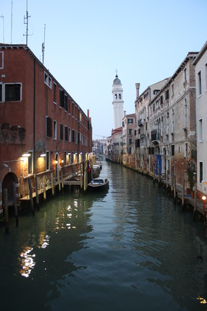 View on Ancient Canal in Venice, Italy Veneto UNESCO World Heritage