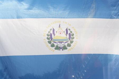 bandera de el salvador: Imagen de detalle de la bandera El Salvador Foto de archivo