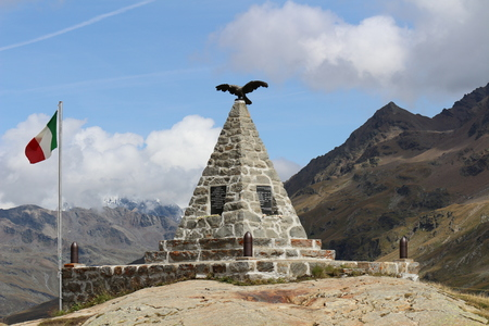 gavia: Picture of War memorial at Gavia Pass (Lombardy. Italy) Stock Photo
