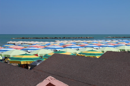 View of the beach on the Adriatic Sea (Pesaro, Marche, italy)