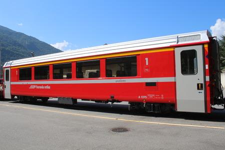 Bernina Express train wagon (Switzerland) Stock Photo