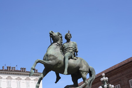 Bronze statues cavalier in Turin