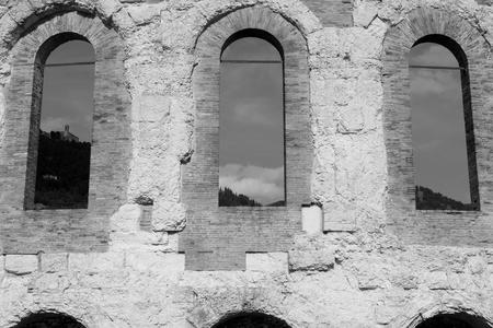 Ancient roman amphitheater in Gubbio (Umbria, Italy) Stock Photo
