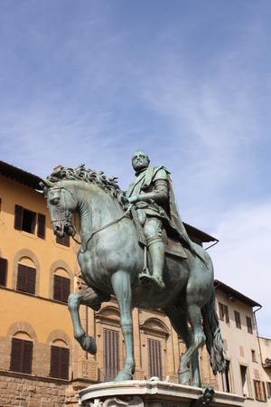 Statue of Cosimo I de Medici in Signoria square (Florence, Tuscany, Italy) Stock Photo