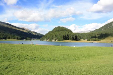 View of Silvaplana lake (Silvaplanersee Switzerland) Stock Photo