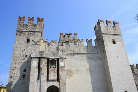 View of Castle Rocca Scaligera, Sirmione, Lake of Garda, Verona, Italy