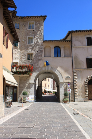 View of Visso village, ancient medieval village (Macerata, Marche, Italy) Stock Photo