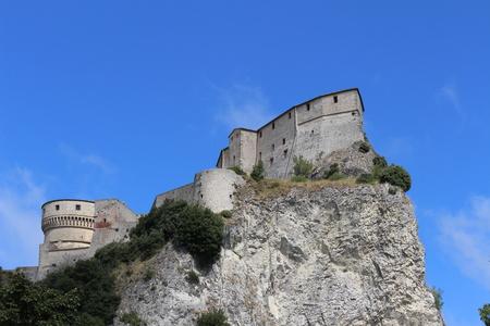 View of San Leo Fortress (San Leo, Rimini, Emilia Romagna, Italy) Stock Photo