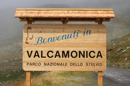 Border marker municipality of Valcamonica (Brescia, Lombardy, Italy)
