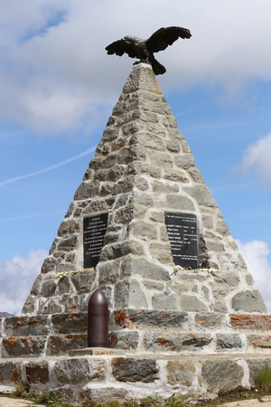 Picture of War memorial at Gavia Pass (Lombardy. Italy) Stock Photo