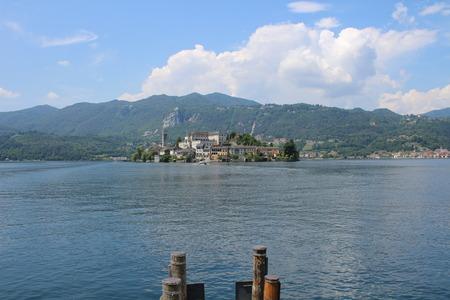 San Giulio Island, Lake Orta, Piedmont, Italy Stock Photo