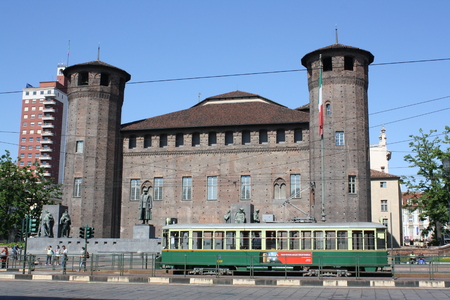 TURIN, ITALY - APRIL 26, 2014: Piazza Castello meaning Castle Square