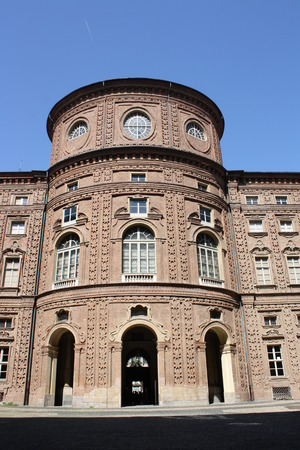 View of Carignano Palace in Turin, Italy