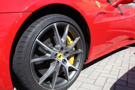 Maranello, Italy - August 24, 2016: wheel and brake system of Ferrari sports cars Redakční