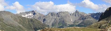 Panoramic view of Bernina mountains in the Alps (Switzerland) Stock Photo