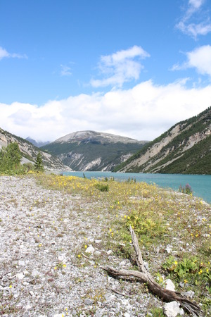 View of Livigno lake or Gallo lake (Italy, Switzerland) 写真素材