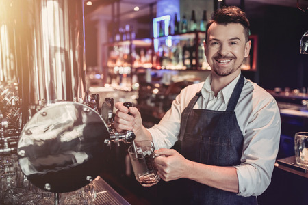 Cheerful bartender on a bar counter is working and smiling. Archivio Fotografico