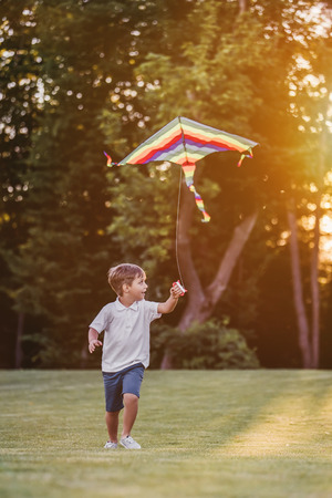 Little cute boy is having fun and running with kite on a green glassy lawn