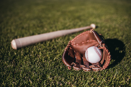 Baseball bat, ball and glove is lying on green grass