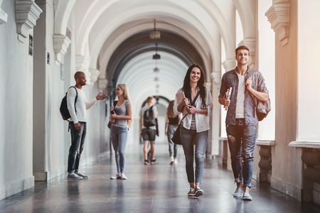 Multiracial students are walking in university hall during break and communicating. Stock Photo