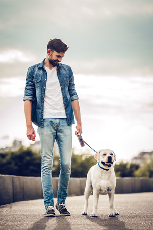 Handsome young man with labrador outdoors. Man on a walk in the city with his dog. Banque d'images